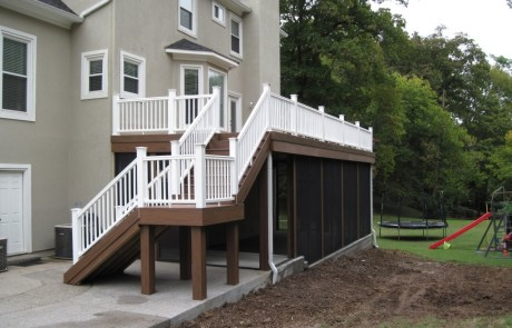 Wooden Deck with White Rails