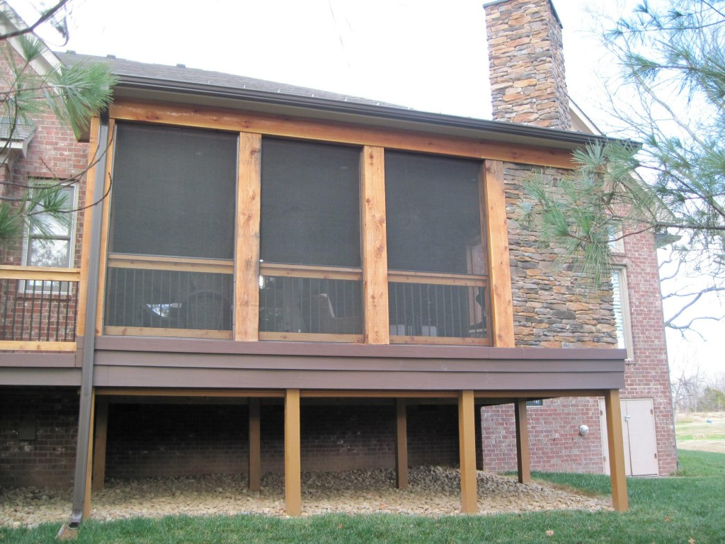 Composite deck addition with screen porch