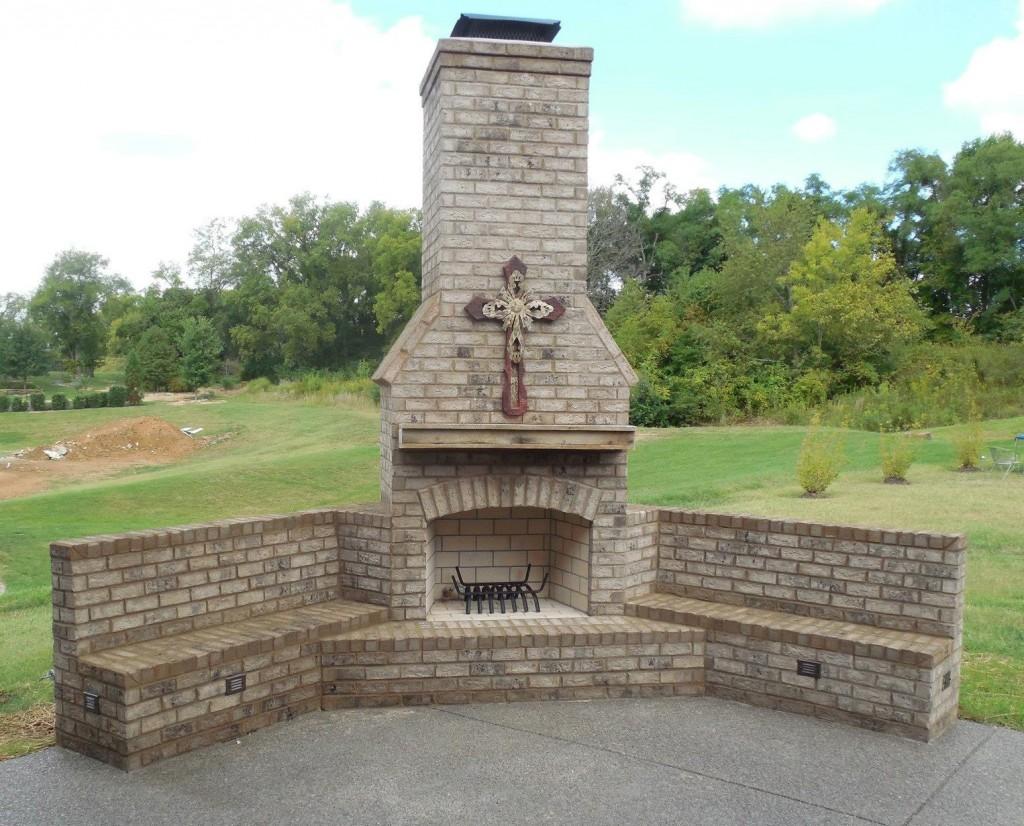 Brick Bench Fireplace