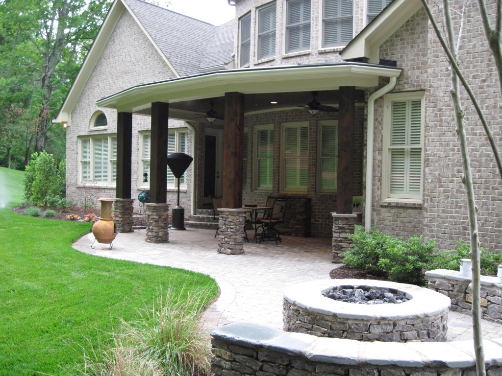 Covered porch with paver patio